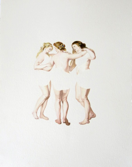 The Three Graces, acrylic on paper, 32x41cm